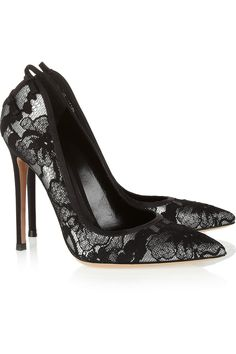 Gianvito Rossi|Lace-covered leather pumps.
