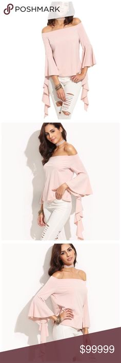"""🆕 Blush Pink Asymmetrical Ruffle Sleeve Top D20 ‼️ PRICE FIRM UNLESS BUNDLED WITH OTHER ITEMS FROM MY CLOSET ‼️   Blush Long Ruffle Sleeve Top  Retail $79  LOVE IT!!  I absolutely love this top!  Spectacular ruffled sleeves gives it such a dramatic look!  There is a significant amount of stretch to this top for a perfect & comfortable fit. 100% polyester. I will be listing the other sizes soon!  SMALL Bust 34""""-36"""" Length of garment 19""""  LARGE Bust 38""""-42"""" Length 19.5"""" Tops Blouses"""