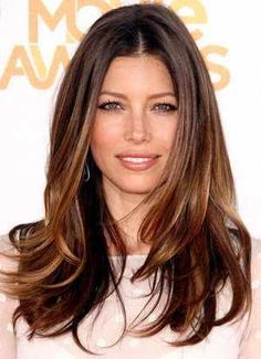 Jessica Biel- pretty brunette with highlights