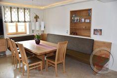 Kitchen Cabinet Styles, Kitchen Cabinet Storage, Storage Cabinets, Kitchen Corner, New Kitchen, Dining Table Design, Dining Bench, Kitchen Countertops, Kitchen Cabinets