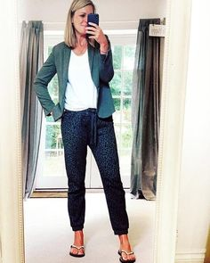 Kate wears a blazer and drawstring pants for working from home   40plusstyle.com