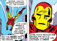 MARVEL PANEL OF THE DAY From: Avengers (1963) #110 We're not scientists, but isn't iron stronger and less permeable than plastic?