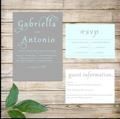 Modern Grey Wedding Invitation Suite with Mint Text and Response Cards. This wedding invitation suite consists of:  (1) 5 x 7 Invitation (2)