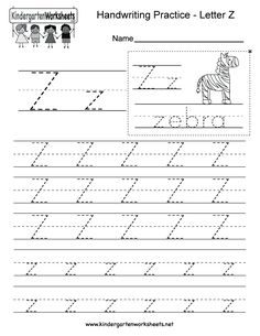 Letter Z writing practice worksheet. This series of handwriting alphabet worksheets can also be cut out to make an original alphabet card or booklet. Handwriting Practice Worksheets, Alphabet Tracing Worksheets, Learn Handwriting, Printable Preschool Worksheets, Alphabet Writing, Handwriting Alphabet, Tracing Letters, Hand Writing, Alphabet Activities