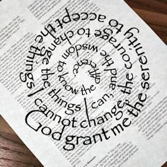 Serenity Prayer printed in spiral on a copy of a page of the Bible (Jeremiah 29:9-30:11) as the background. Printed on ivory colored 8 1/2x11 parchment paper. Perfect for framing in an 8x10 frame. Can be made with any other verse and Bible page. Also sold on wood plaque. Check out my shop for other listings. Check out policies for customizing options. We will buy one Bible per item sold and give it to a person who needs one. We have sent Bibles via American Bible Society and also work...