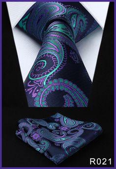 "Pocket Square Classic Party Wedding Men's Fashion Paisley Floral 3.4""Silk Woven Wedding Men Tie Necktie Handkerchief Set#RF2"