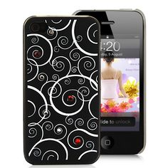 Floral Style With Diamond Decorated Hard Case Cover For iPhone 4S - Translucent Black