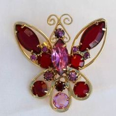 Pink and Red Rhinestones Butterfly Brooch Pin