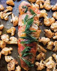 Prosciutto-Wrapped Pork with Cauliflower | Dinner done on one sheet pan.