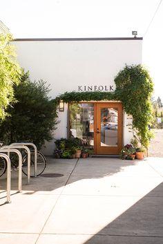 Kinfolk Tour with Lisa Warninger Cafe Shop Design, Cafe Interior Design, Store Design, Cafe Restaurant, Restaurant Design, Painted Brick Exteriors, Shop Facade, Small Cafe, Shop Fronts