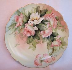 Limoges special antique hand painted signed porcelain dessert or luncheon set.