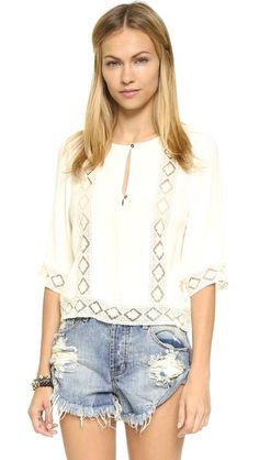Twelfth St. by Cynthia Vincent Lace Inset Blouse