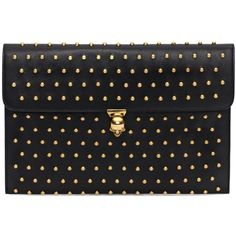 Alexander McQueen Black Nappa Leather Studded Skull Closure Envelope found on Polyvore