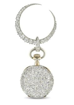 TIFFANY & CO. A FINE 18K GOLD AND DIAMOND-SET OPENFACE KEYLESS LEVER PENDANT WATCH WITH BROOCH  SIGNED TIFFANY & CO., NO. 72'945, CIRCA 1890  Keyless jewelled lever movement, gold cuvette, white enamel dial, Roman numerals, small circular case, pavé-set with diamonds throughout, hinged back, with diamond-set pendant hoop, to a detachable diamond-set crescent-shaped brooch, case, dial and movement signed, cuvette and movement numbered; pin of brooch stamped H. Michel  20.5 mm. diam.