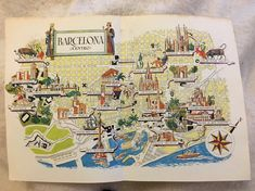 Barcelona Spain Map / Jacques Liozu Vintage Map Art / Home Wall Decor / World…