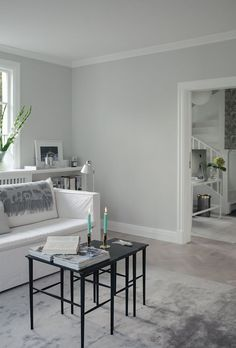 Living room with style // by House of Philia. Nordsjo Ambiance Xtramatt on the walls, 200 29 House Of Philia, Cozy Living Rooms, Interior Design Living Room, Light Grey Walls, Wall Colors, Kitchen Decor, Sweet Home, Bedroom Decor, New Homes