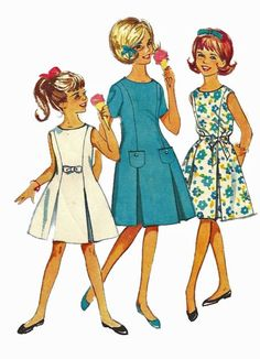 1960s  Simplicity 4922 Girls Dress Pattern with Princess Seams Pleats and Button Bow Trims  Childs Vintage Sewing Pattern Size 10 Breast 28