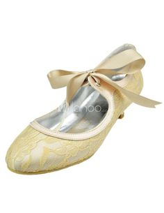 Charming Lace up Low Heel Wedding Lace Shoes. See More Bridal Shoes at http://www.ourgreatshop.com/Bridal-Shoes-C919.aspx