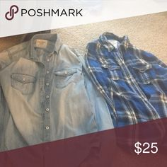 2 Abercrombie button ups One chambray one blue plaid Abercrombie & Fitch Tops Button Down Shirts