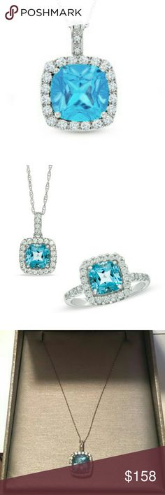 blue topaz necklace 20 inches upgraded chain. diamonds and white gold with stunning blue topaz.  pendant is smaller than a quarter and gorgeous.  matches ring in my closet. Zales Jewelry Necklaces