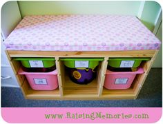 How To Make a Bench Cushion for IKEA Trofast or any other bench or window seat! by www.RaisingMemories.com