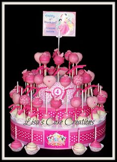 Definitely have to make a cake pop cake for her ^_^ Minnie Mouse Cake Pops, Minnie Mouse 1st Birthday, Princess Birthday, Princess Party, Fondant Cakes, Cupcake Cakes, Princess Cake Pops, Cake Pop Displays, Birthday Ideas