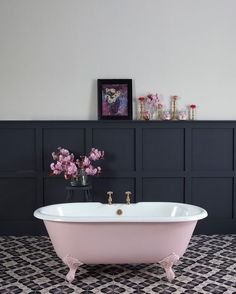 Pink makes the boys (and girls) wink #bathroom #bathroomdecor #bathroomdesign #interiorinspo #interiors #interiorideas