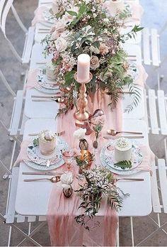 A gorgeous touch to a beach wedding - blush pink draping - creates an elegant romance to the decor. #PinkWedding #BeachWedding #PinkandGoldWedding #WeddingInspiration #WeddingPlanning #Weddings #WeddingDecor