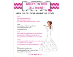 Printable Bridal Shower Game What's in your Cell by TheVintagePen