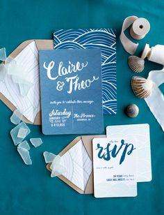 Calligraphy ocean invitation suite