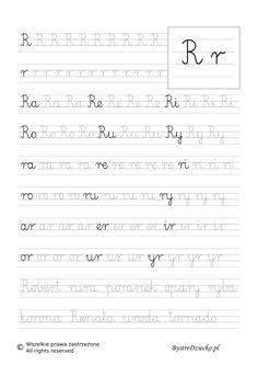 R - nauka pisania sylabami - karty pracy dla dzieci Cute Drawings, Hand Lettering, Sheet Music, Math Equations, Teaching, Kids Letters, Speech Language Therapy, Writing, Gaming