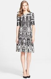 St. John Collection Animal Jacquard Knit Fit & Flare Dress