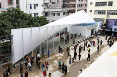 the flexible structure was built as part of the 2017 bi-city biennale of urbanism  architecture (UABB).