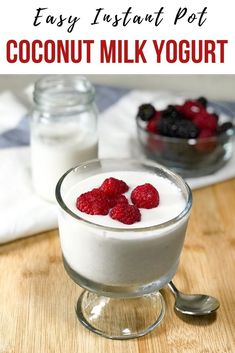 instant pot recipes Heres the detailed recipe for a dairy free, paleo and keto friendly, homemade Instant Pot coconut milk yogurt. Homemade Coconut Yogurt, Coconut Milk Yogurt, Dairy Free Yogurt, Vegan Yogurt, Coconut Milk Benefits, Dairy Free Milk, Vegan Dessert Recipes, Delicious Vegan Recipes, Desserts