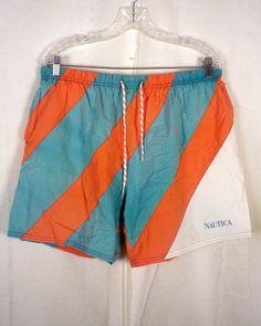 vtg 90s Nautica men's Colorblock Orange / Turquoise Swim Trunks Board Shorts L