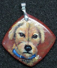 hand painted terrier dog, glass pendant, Sold