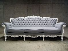 Another antique couch....would be gorgeous recovered in a butter yellow toile!