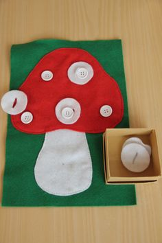 mushroom felt page idea Vocational Activities, Fall Preschool Activities, Kindergarten Crafts, Montessori Activities, Infant Activities, Mushroom Crafts, Fine Motor, Fall Crafts, Diy For Kids