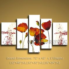 "Hand-Painted HUGE Multiple Panels Oil Painting On Canvas Contemporary Poppy Flower 72"" x 40"" #2318"
