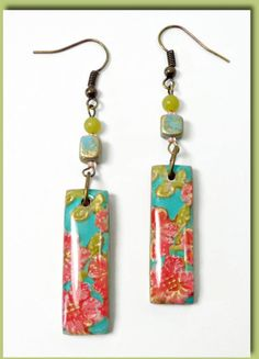 Vintage Rose Dangle Earrings polymer clay handmade by BeadazzleMe, $16.00