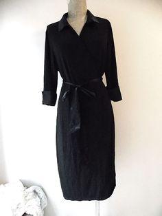 Black Dress Size XLarge Plus Wrap Black Cuff Sleeves Stretch Modest Knee Length #George #StretchBodycon #LittleBlackDress