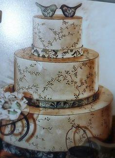bolo pintado á mão em MDF....Ianê Trench