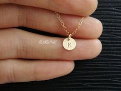 I love the simplicity of this necklace. Just a little touch of gold to an outfit -perfect!Custom Initial Monogram GOLD Fill Necklace Tiny by hotmixcold