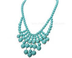 Beaded Necklace Statement Jewelry Turquoise от BubbleJewellery, $11.87