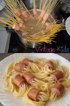 Spaghetti Würstchen - Essen für den Kindergeburtstag