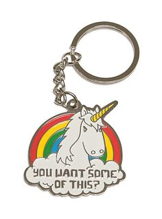Want Some? Angry Unicorn Keychain from ShopPlasticland.com