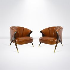 Modernist Karpen Lounge Chairs In Cognac Leather, Circa 1950s