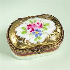 ** Oválná krabička - malovaný porcelán se zlaceným okrajem **
