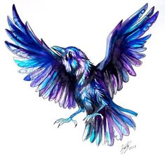Raven Tattoo by Lucky978.deviantart.com on @deviantART // like the idea of adding blue and purple so it is not ALL black