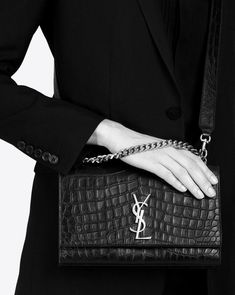 47843389b Saint Laurent Kate Chain Wallet with Tassel Croc-Embossed #fashion  #clothing #shoes